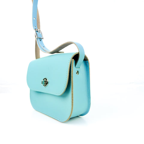Sky Blue Leather Shoulder Bag - Chroma