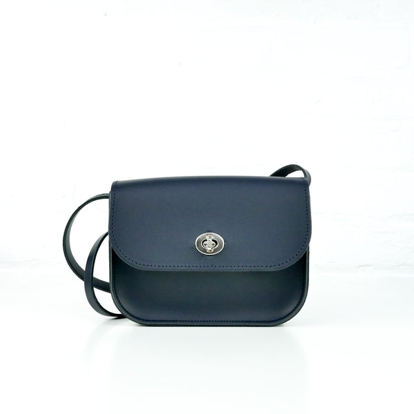Navy Leather Shoulder Bag - Chroma