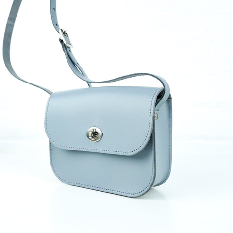 Light Grey Leather Shoulder Bag - Chroma