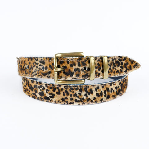 "Leopard Print Hair on Hide 1"" Leather Belt - Roam"