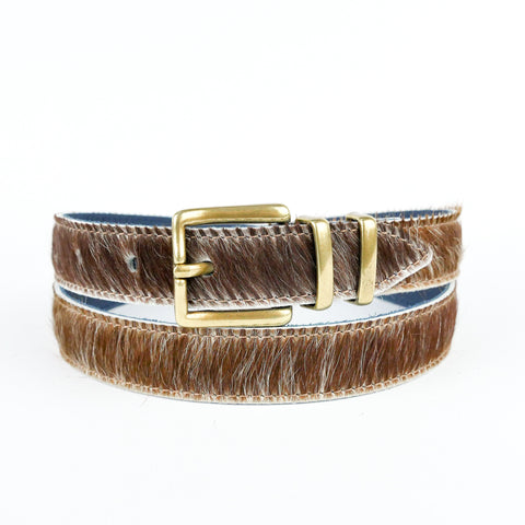 "Natural Hair on Hide 1"" Leather Belt - Roam"