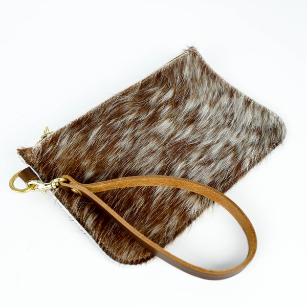 Hair on Hide Natural Tan Speckle Leather Clutch Bag - Roam