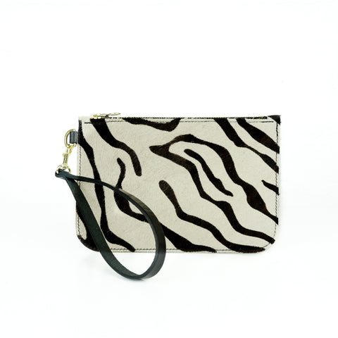 Hair on Hide Zebra Leather Clutch Bag - Roam