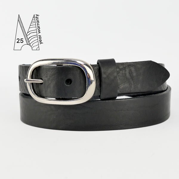 "1"" Classic Black Leather Belt"