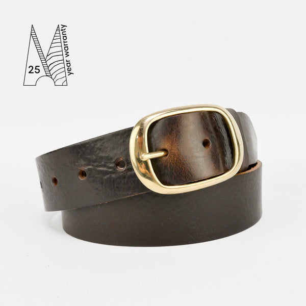 "1 1/2"" Classic Brown Leather Belt"