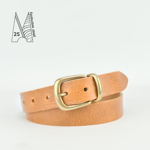 "Buckle and Loop 1 1/8"" Tan Leather Belt"