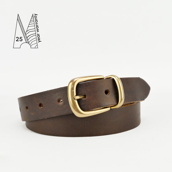 "Buckle and Loop 1 1/8"" Brown Leather Belt"
