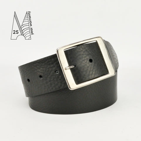 "2"" Classic Black Leather Belt"