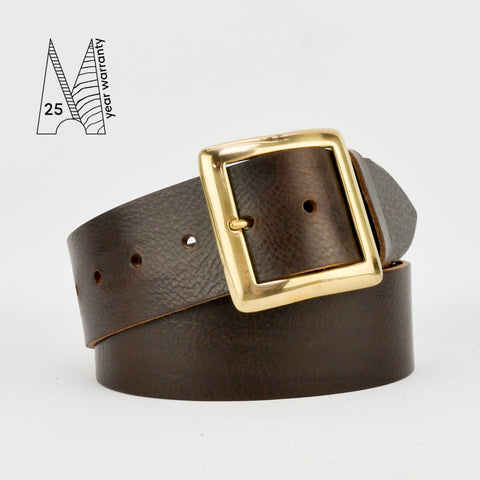 "2"" Classic Brown Leather Belt"