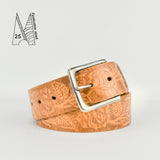 "1 3/4"" Tooled Classic Tan Leather Belt"