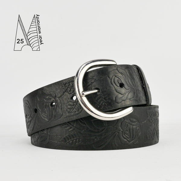 "1 3/4"" Tooled Classic Black Leather Belt"