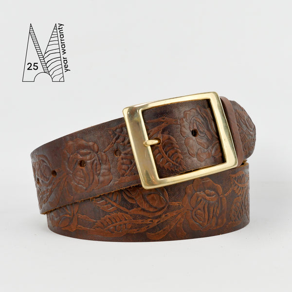 "1 3/4"" Tooled Classic Brown Leather Belt"