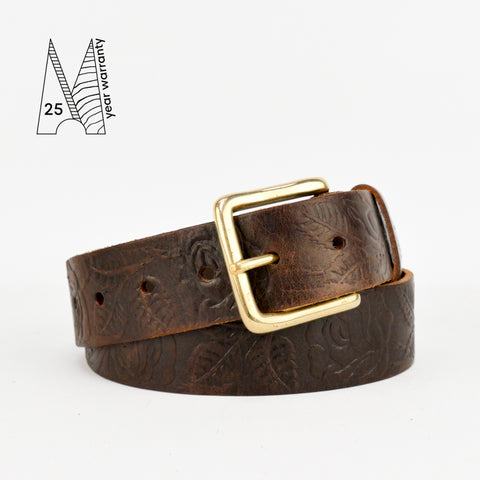 "Rose & Leaf Tooled 1 1/2"" Brown Classic Belt"
