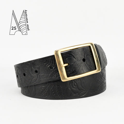 "Rose & Leaf Tooled 1 1/2"" Black Classic Belt"