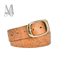 "Rose & Leaf Tooled 1 1/2"" Tan Classic Belt"