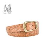 "Buckle and Loop 1 1/8"" Tan Leather Belt Tooled"