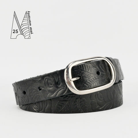 "Rose & Leaf Tooled 1 1/4"" Black Classic Belt"