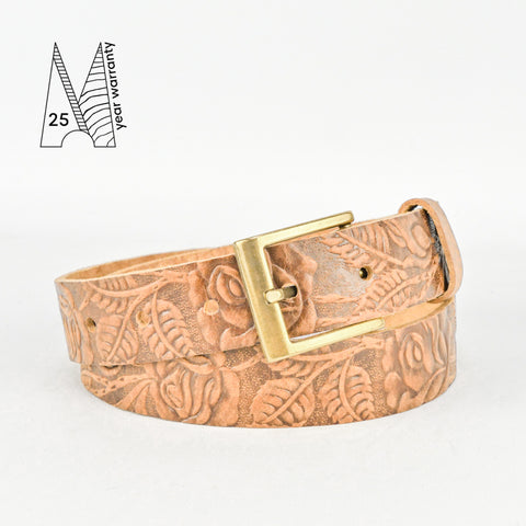 "Rose & Leaf Tooled 1 1/4"" Tan Classic Belt"