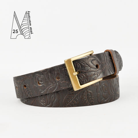 "Rose and Leaf Tooled 1 1/4"" Brown Classic Belt"