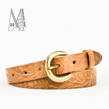 "1"" Tooled Classic Tan Leather Belt"