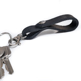 Belt Loop Black Leather Key Ring