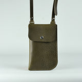 Billie Olive Green Leather Neck Pouch