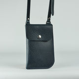 Billie Navy Leather Neck Pouch