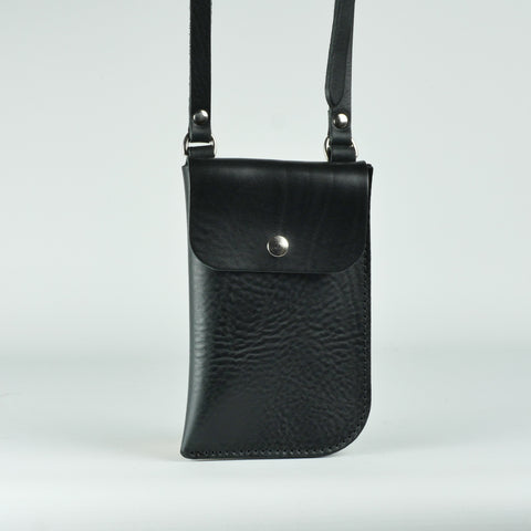 Billie Black Leather Neck Pouch