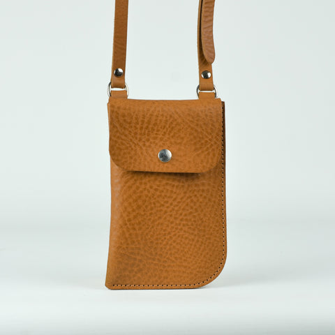 Billie Mustard Tan Leather Neck Pouch