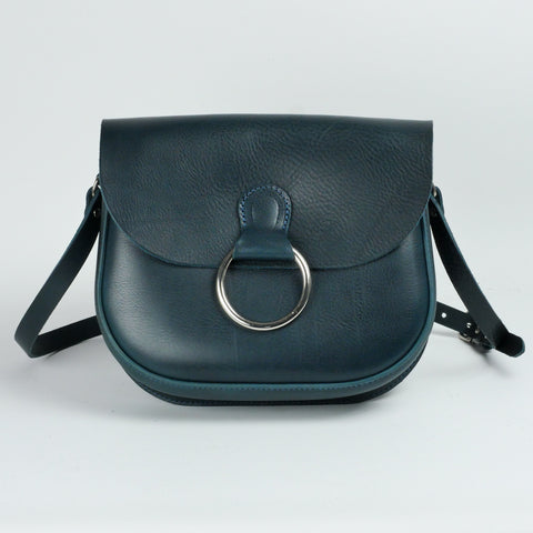 Belle Navy Leather Crossbody Bag