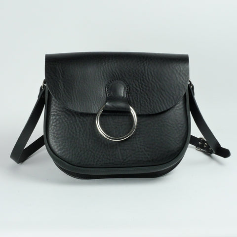 Belle Black Leather Crossbody Bag