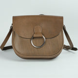 Belle Elephant Grey Leather Crossbody Bag