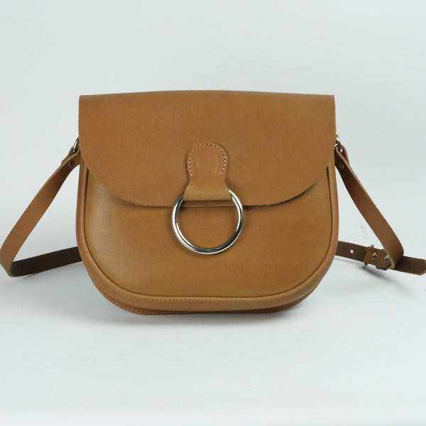 Belle Mustard Tan Leather Crossbody Bag