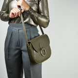 Belle Olive Green Leather Crossbody Bag