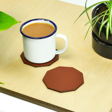 Tan Leather Coasters