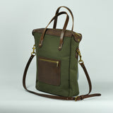 Large Green Canvas and Leather Tote Bag