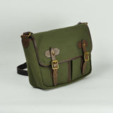 Green Canvas and Leather Satchel Bag