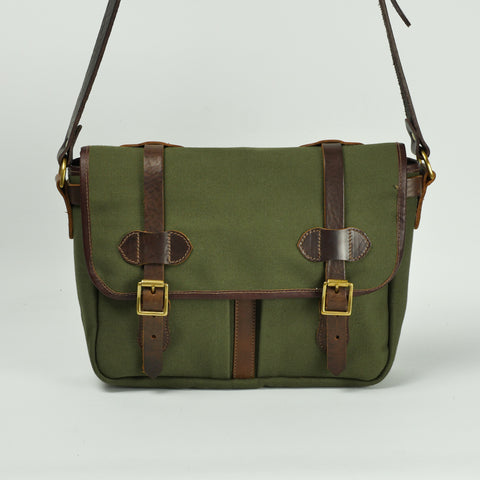 Double Buckle Green Canvas and Leather Satchel Bag