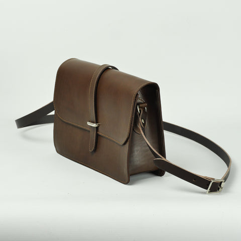 Tuck Brown Leather Crossbody Bag