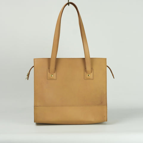 Natural Leather Zip Tote Bag