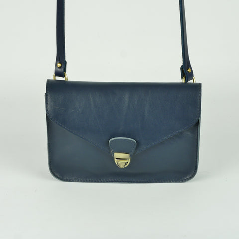 Navy Leather Envelope Clutch Bag