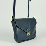 Navy Leather Envelope Crossbody Bag
