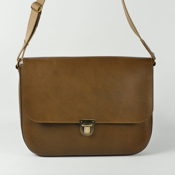 Large Moss Green Leather Satchel Bag