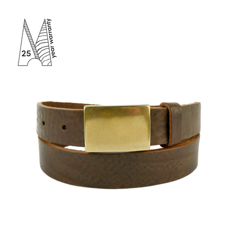Brown Formal Plate Buckle Belt 1 1/8""