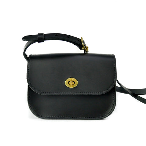 Matte Black Leather Shoulder Bag - Roam