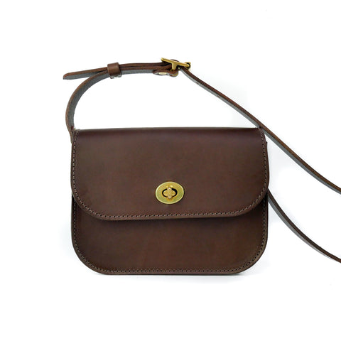 Chocolate Brown Leather Shoulder Bag - Roam