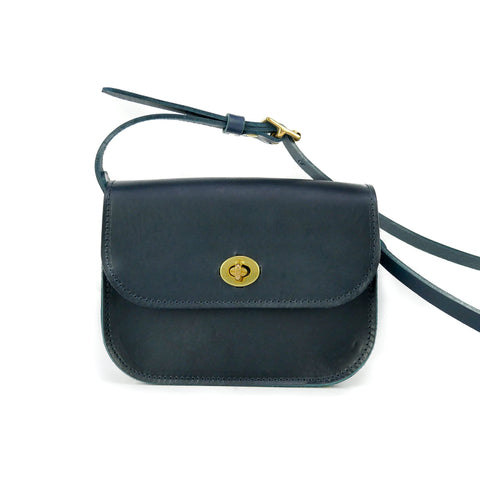 Deep Navy Leather Shoulder Bag - Roam