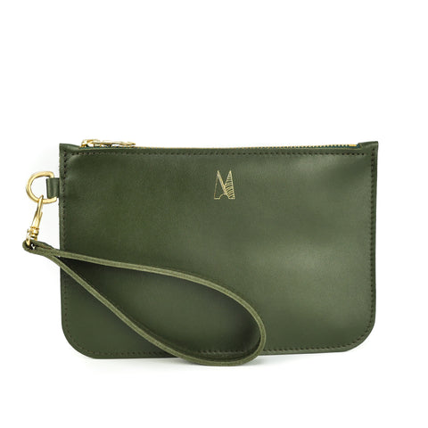 Olive Green Leather Wristlet Bag - Roam