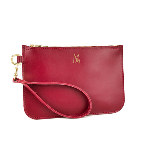 Red Leather Wristlet Bag - Roam