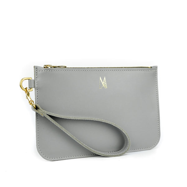 Grey Leather Wristlet Bag - Roam